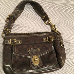 COACH purse in dark chocolate leather and cloth